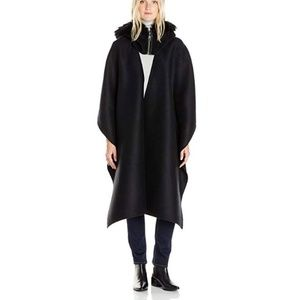 Mackage Helina Fox Fur-Trim Hooded Cape, 0/S